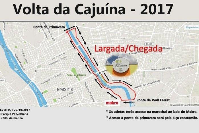 Trajeto da Volta da Cajuína (Crédito: Reprodução )