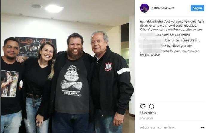 José Dirceu foi fotografado após o show (Crédito: Reprodução/Instagram)