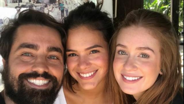 Bruna Marquezine, Marina e Ricardo Pereira nos bastidores de novela