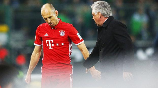 Carlo Ancelotti e Robben não se deram bem no Bayern de Munique (Crédito: Getty)