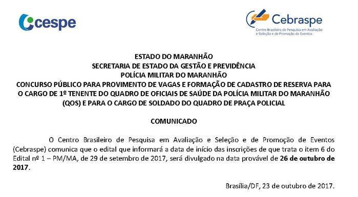 Concurso da Polícia Militar do Maranhão (Crédito: Cespe/Cebraspe)