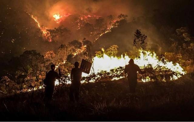 Incêndio destrói vegetação na Chapada dos Veadeiros (Crédito: Davi Boarato/BBC Brasil)