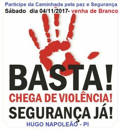Convidamos a Todos para Caminhada pela paz e segurança Sábado 04/11