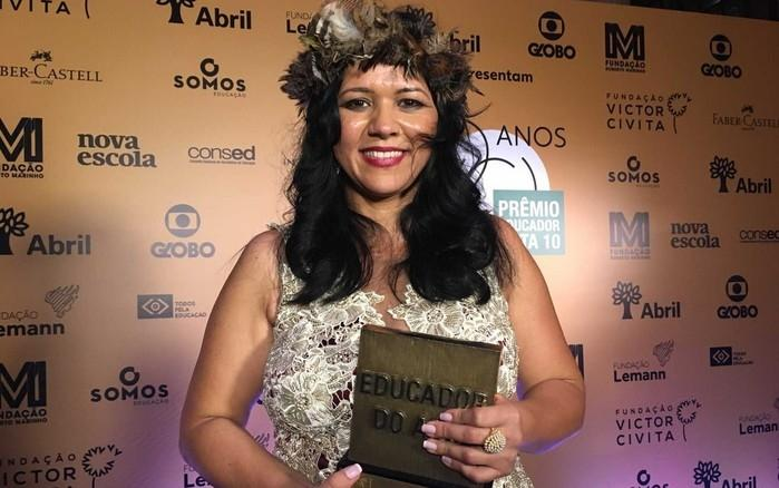 Elisângela Dell-Armelina Suruí, de 38 anos, foi premiada  (Crédito: Carol Moreno / G1)