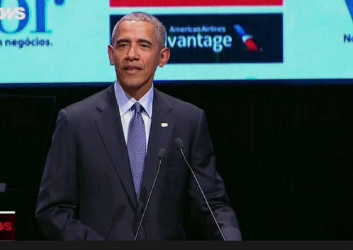 Ex-presidente dos EUA esteve participo de Fórum em SP (Crédito: Reprodução/Globonews)
