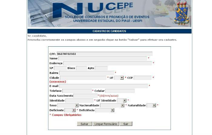 Inscrições para o Concurso do Corpo de Bombeiros do Piauí (Crédito: NUCEPE)