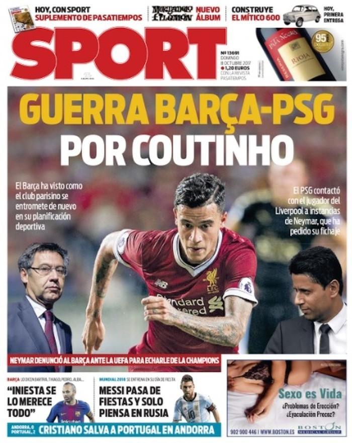 Capa do jornal Sport com a disputa entre Barcelona e Paris Saint-Germain por Philippe Coutinho (Crédito: Reprodução)