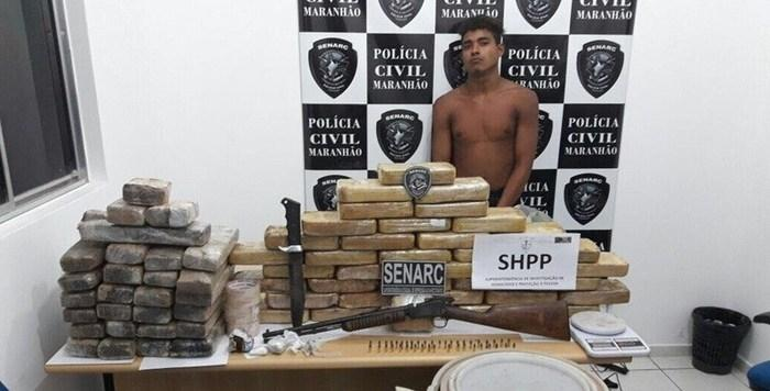 Criminoso foi preso em flagrante (Crédito: Polícia Civil)