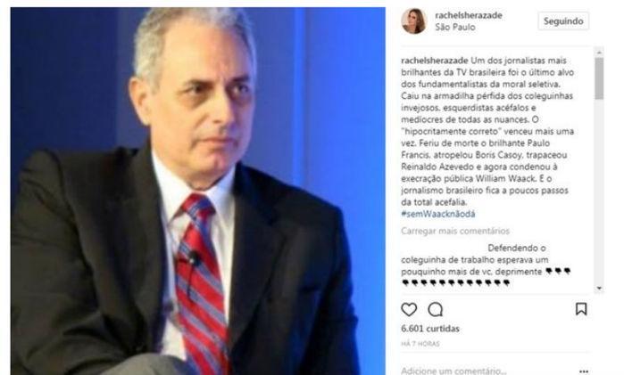 Post de Rachel Sheherazade defendendo Waack