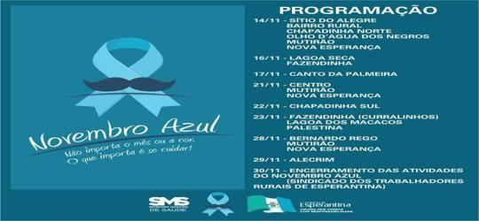 Secretaria de saúde divulga programação do novembro azul