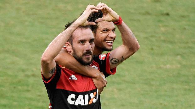 Mancuello comemora o seu gol, o primeiro do Flamengo sobre o Corinthians (Crédito: Getty)