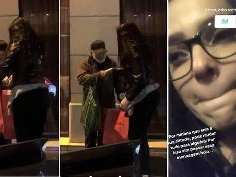 Ex-BBB Emilly distribui comida nas ruas de Paris e vai às lágrimas