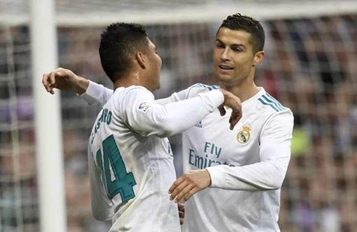 Casemiro e Cristiano Ronaldo marcaram os gols da vitória do Real (Crédito: Gabriel Bouys / AFP)