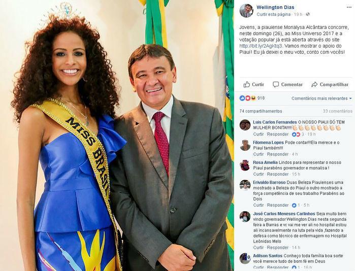 Governador Wellington Dias pede votos para Monalysa Alcântara   (Crédito: Facebook)