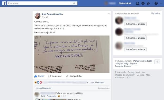 Professora dar 10 a aluno se Chico Buarque a seguir no Instagram