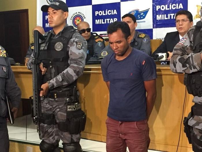 Robert Serejo foi apresentado no Comando Geral da Polícia Militar do Maranhão (Crédito: G1 Maranhão)