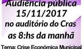 Audiência Pública discutirá crise econômica municipal em Redenção