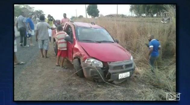 Veículo conduzido por pecuarista morto em acidente na BR-316 no Maranhão (Crédito: TV Mirante/Reprodução)