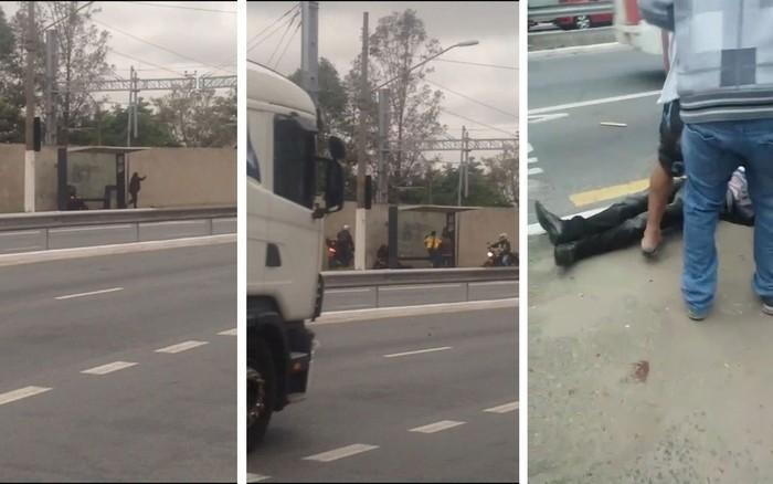 otos a partir de vídeo feito por celular mostra flagrante de homem esfaqueando ex e amiga e depois sendo contido e morto por pessoas que passavam pelo ponto de ônibus  (Crédito: Reprodução)