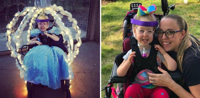 Mãe transforma cadeira de rodas da filha em carruagem da Cinderela