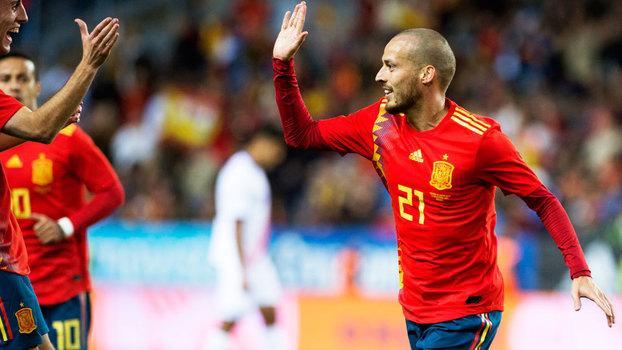 David Silva comemora gol da Espanha nas Eliminatórias (Crédito: Getty)