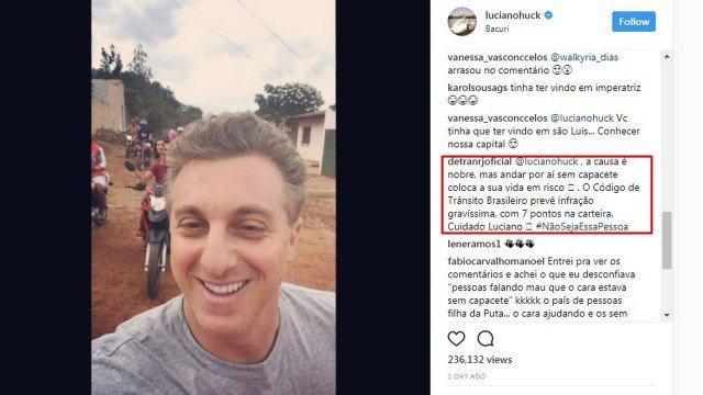 Luciano Huck leva bronca do Detran em página na internet (Crédito: Reprodução)