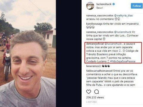 Luciano Huck toma bronca do Detran-RJ por não usar capacete em moto