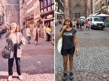 Mulher volta a mesmos lugares após 30 anos e recria fotos antigas