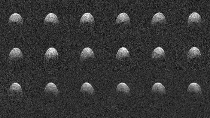 Imagens de radar do asteroide 3200 Phaethon foram feitas em 17 de dezembro (Crédito: Nasa)