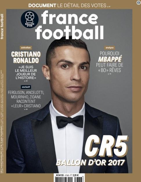 """""""Sou o melhor jogador da história"""", diz CR7 após ganhar pela 5ª  a Bola de Ouro"""