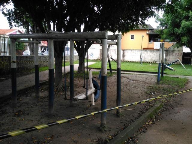 Praça onde a criança morreu (Crédito:  Alessandro Batata/TV Diário)