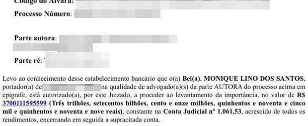 Alvará com erro 'autoriza' advogada a receber R$ 3 trilhões