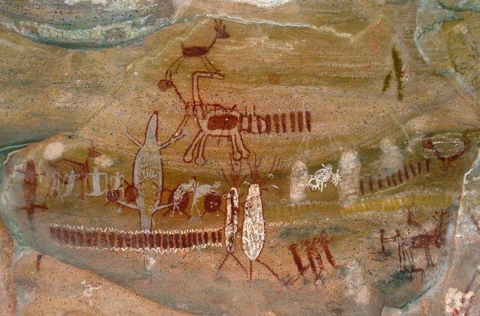 Pintura rupestre - Sítio Arqueológico da Serra da Capivara - São Raimundo Nonato - Piauí (Crédito: Divulgação)