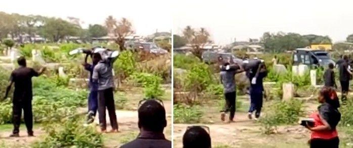 Momento em que os homens levam o cadáver  (Crédito: Reprodução)