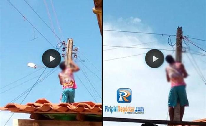 Homem faz religação clandestina de energia elétrica