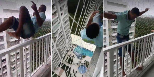 Vídeo de homem fazendo teste em rede de proteção viraliza na web