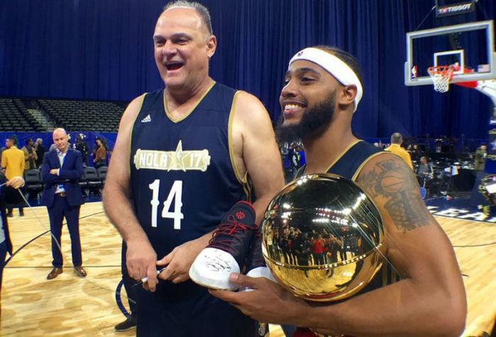 scar Schmidt ao lado de Brandon Armstrong, MVP do Jogo das Celebridades