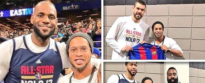 Ronaldinho agita treino da NBA e posa com LeBron e Curry