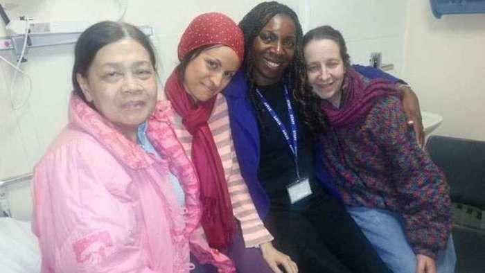Da esquerda para a direita: Aisha, Katy, Yvonne Hall e Josie