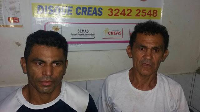 Os acusados de cometer o crime { o de blusa branca seria o autor)