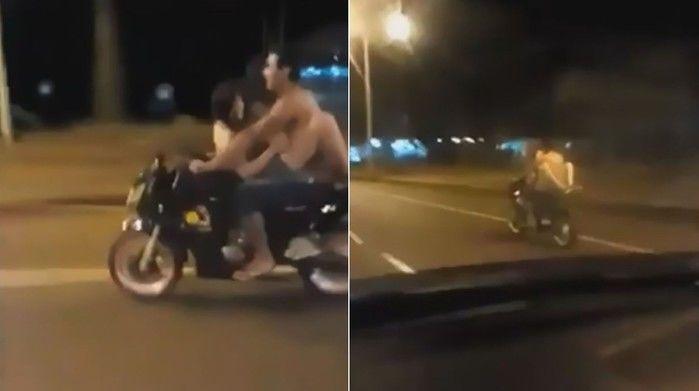 Casal é flagrado fazendo sexo sobre moto em movimento