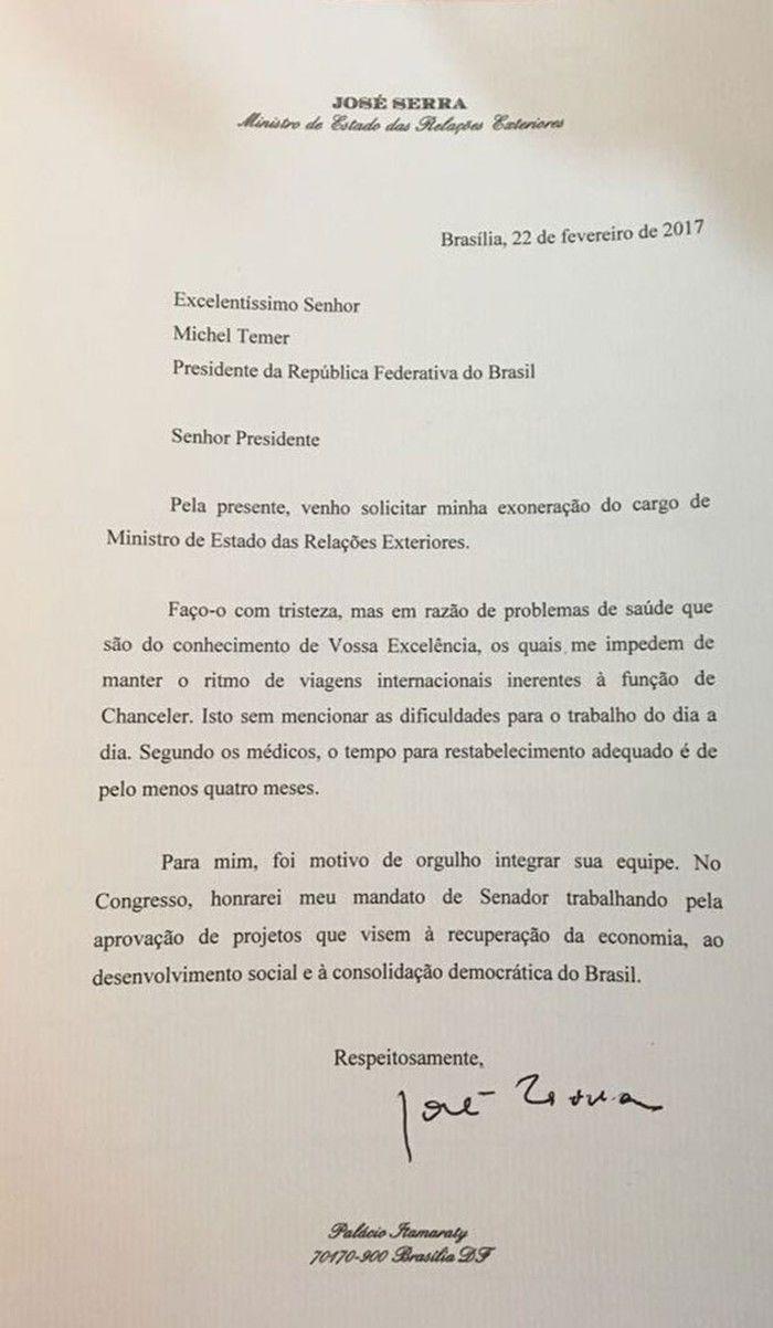 Carta de demissão do ministro José Serra
