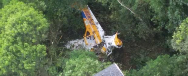 Avião de pequeno porte cai na região norte de Santa Catarina