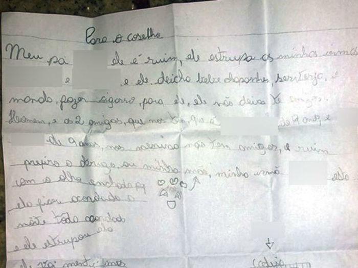 Criança escreve carta para denunciar o pai por abuso sexual