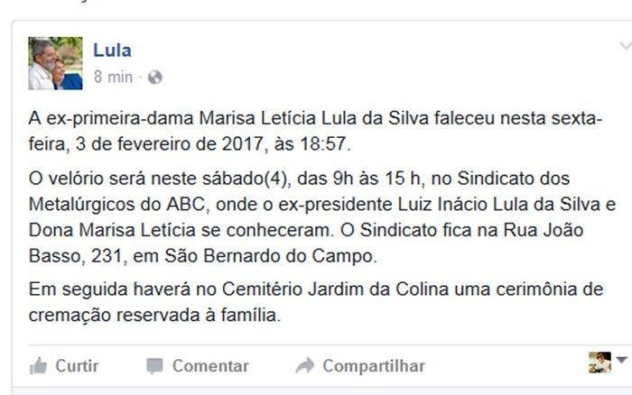 Lula postou informações sobre o velório e a cremação do corpo de Marisa