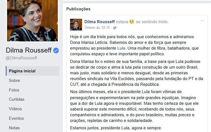 Dilma Rousseff postou na quinta-feira sobre dona Marisa Letícia
