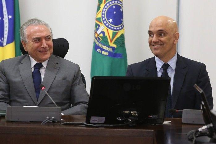 Presidente Michel Temer com Alexandre de Moraes