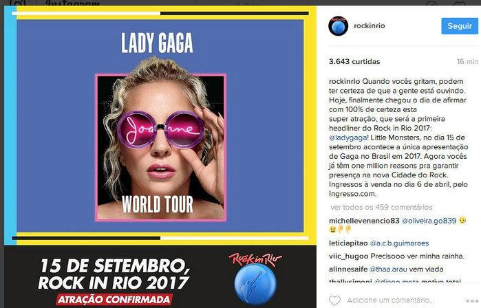 Lady Gaga confirmada no Rock in Rio