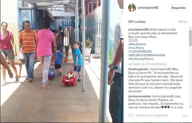 Ex-BBB mostra filhos indo para a escola pública