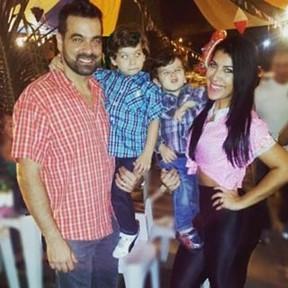 Priscila Pires e o ex-marido, Bruno Andrade, com os filhos